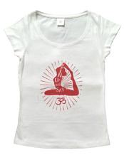 Damen Yoga T-Shirt weiß , Motiv: Open up