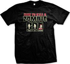 How To Kill A Zombie Intructions - Funny Zombies Horror Slogans Men's T-shirt