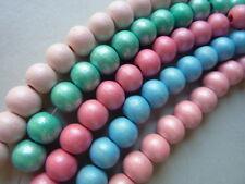 100 Holzperlen rund pastellfarben 8mm Farbwahl 2725