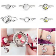 316L Stainless Steel living memory glass locket bangle Bracelet  Gift For Women