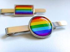 RAINBOW FLAG LGBT MOVEMENT GAY PRIDE FLAG MENS TIE SLIDE TIE GRIP PIN TIE BAR