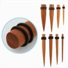 "1/2"" - 12g Organic Teak Wood Stretching Taper Ear Plug Pair With O-Ring New USA"