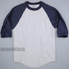 Shaka Plain Baseball Shirt Raglan 3/4 Sleeve Navy Gray BABA Vintage Look
