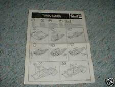 Revell Turbo Cobra Instructions 1979  kit D.