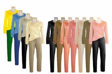 Damen Schlafanzug Pyjama Nachtwäsche 2-Teiler Langarm Lange Hose S M L XL XXL