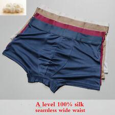 Men Knit Pure Silk 100% Boxer Brief Underpants Trunks Shorts Underwear Stretch