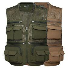 Mens Sleeveless Multi Pocket  Military Tactical Mesh Vest Fly Fishing Waistcoat