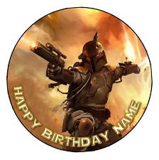 EDIBLE Boba Fett Star Wars Cake Topper Birthday Party Wafer Paper 19cm (uncut)