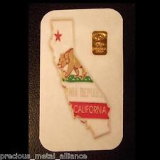 10 GRAIN 24K PURE.999 CALIFORNIA COA GOLD BULLION BAR FREE 5 GR SILVER