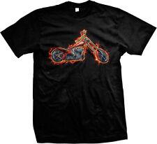 Chopper Red Motorcycle Bike Classic Ride Speed Lightning Mens T-shirt