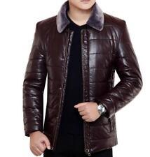 Mens Pu Slim Lapel Collar Fur Business Padded Jacket Office Formal Outwear Coats