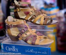 Caprice leather low heel gladiator sandal in dark brown and tan