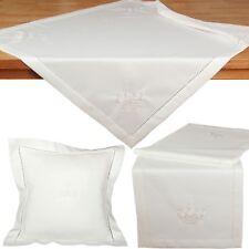 Royale Krone Stickerei mit Hohlsaum Tischläufer Tischdecke Kissenhülle Creme