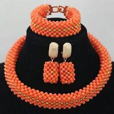 Hermosa Gargantilla De Coral Rojo Y Naranja Fiesta Nupcial joyas conjunto de perlas de África