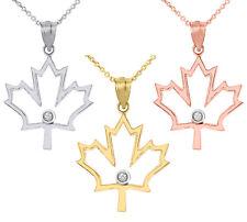 Solid Gold Diamond Outline Canadian Maple Leaf Pendant Necklace