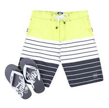 Smith & Jones Summer Beach Surf Swim Board Shorts & Flip Flop Set Yellow Stripe