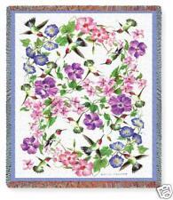 70x54 Hummingbird Tapestry Floral Afghan Throw Blanket