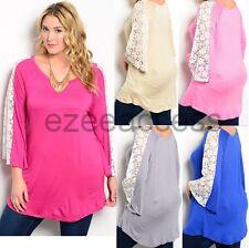 Women Plus Size Crochet Lace Long Sleeve Tunic Top Blouse hi low free shipping