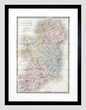 1850 hall carte irlande vintage cadre noir encadré art imprimé photo B12X2151