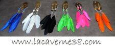 Boucles d'oreille plume fantaisie 110 mm 6 couleurs au choix bijoux perle