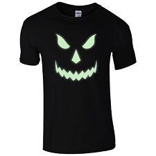 Halloween Scary T-Shirt - Pumpkin Glow In The Dark Face Unisex Mens Gift Top