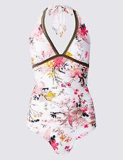 Marks & Spencer's White Floral Mix Secret Slimming Halterneck Swimsuit BNWT