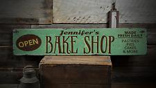 Open Bake Shop, Custom Baker Name Gift - Rustic Distressed Wood Sign ENS1001597