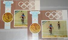 Ajman 1969 bloc 77 A-B Olympics Olympia 1968 Mexico Bicyclist medal winner MNH