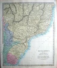 South America,Brazil, Paraguay, Uruguay Sduk Hand Coloured Antique Map 1857
