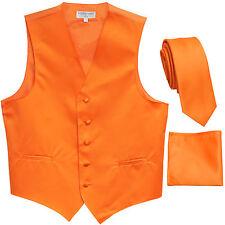 """New Men's Orange formal vest Tuxedo Waistcoat_2.5"""" necktie & hankie set wedding"""