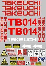 Decal Sticker Set pour: TAKEUCHI TB014 Mini Digger Bagger Pelle Sticker