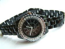 Montres Carlo Black Watch ceramic look with crystals