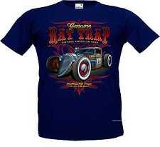 T Shirt navy blue V8 Old school Hot Rod-&`50 Style Emotiv Model Rat Trap