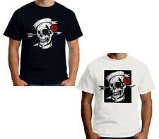 Velocitee Mens T-Shirt Sailor Tattoo Skull Pirate V288