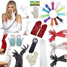 New Ladies Men Kids Fishnet Satin Lace Wedding Pop Short Long Gloves Fancy Dress
