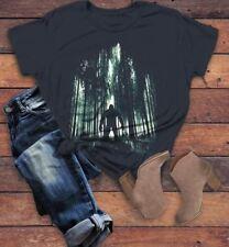 Women's Cool Bigfoot T-Shirt Forest Sasquatch Tee Grunge Hide Seek Hipster