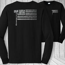 Logger American flag long sleeve t-shirt - USA logging lumberjack flag tee shirt