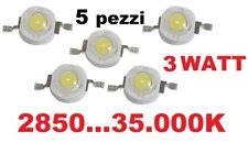 chip led 3W alta luminosità bianco da 2850 a 30000K confezioni da 5 pezzi