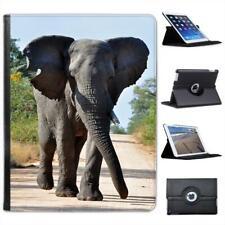 Large Grey African Elephant Walking Folio Wallet Leather Case For iPad 2, 3 & 4