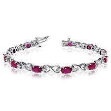 14k White Gold Natural Ruby And Diamond Tennis Bracelet