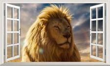 Wildlife Lion 3D Magic Window Wall Art Self Adhesive Poster V2*