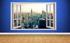 Superbe New York gratte-ciel Fenêtre Scène 3D STYLE Wall Art Autocollant