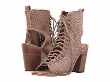 Women's Shoes Dolce Vita Lira Peep Toe Lace-Up Back Booties Light Taupe *New*