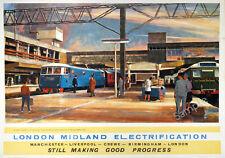VINTAGE POSTER Retro ART PRINT London Midland Electric Trains Travel Advert