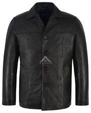 Men's Retro Style Real Leather Black Lambskin Reefer Mid Length Coat 00-4010