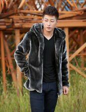 Korean Men's Winter Hooded Faux Fur Coat Warm Thicken Parka Jacket Outwear Zip
