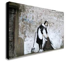 Banksy Barrido Maid debajo de la alfombra de tela pared arte impreso-Varios Tamaños