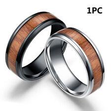 Creative 8mm Men Vintage Tungsten Steel Ring Stainless Steel Band Wood
