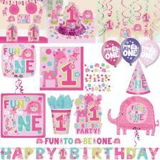 1. Geburtstag Mädchen rosa Tiere erster Kindergeburtstag Deko Zahl Party Set