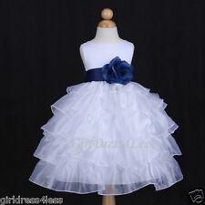 WHITE/NAVY BLUE HOLIDAY ORGANZA WEDDING FLOWER GIRL DRESS 12M 18M 2 3/4 6 8 10